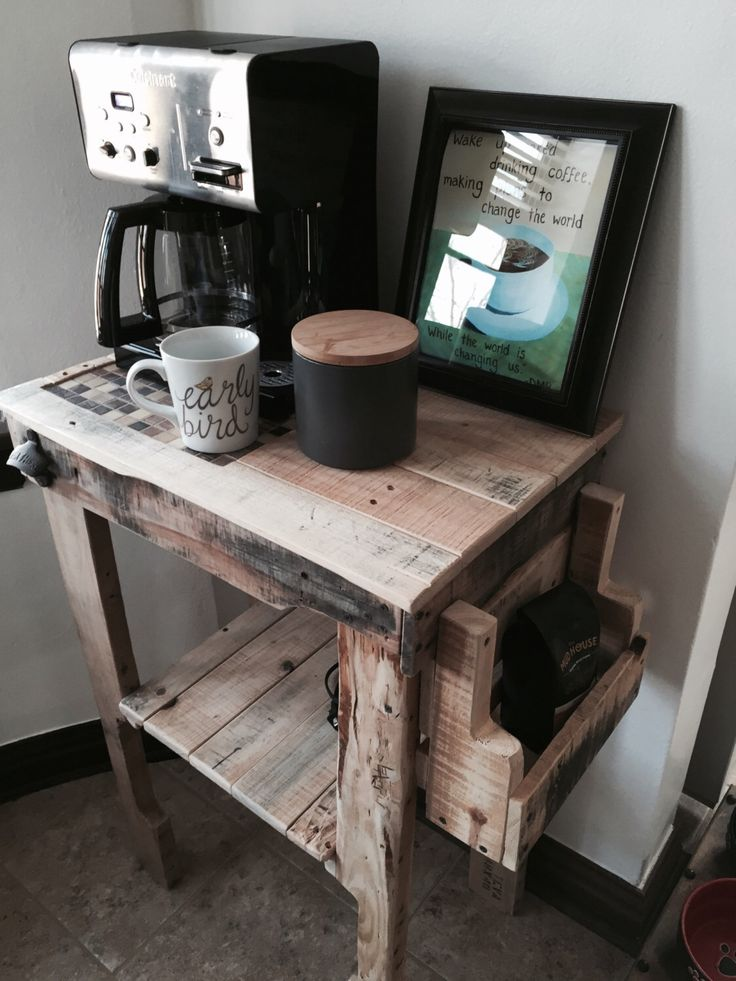 handmade coffee bar from reclaimed pallet wood handmade
