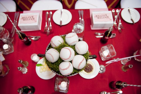 Read more - http://www.stylemepretty.com/2010/05/20/baseball-theme-wedding-by-amorology/