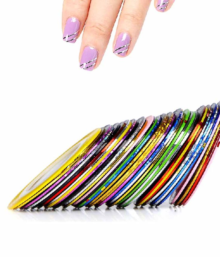 Ski Nail Art Striping Roll Tape With Nail Tip Decoration Sticker Pack Of 10