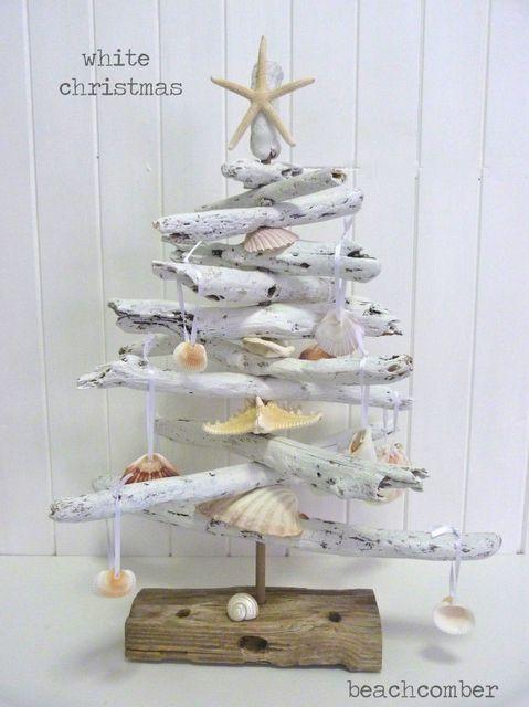 driftwood christmas trees, christmas decorations, seasonal holiday decor, white coastal christmas