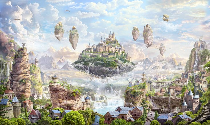 The Castle in the Sky, Alex Feliksovich on ArtStation at https://www.artstation.com/artwork/DBoEn