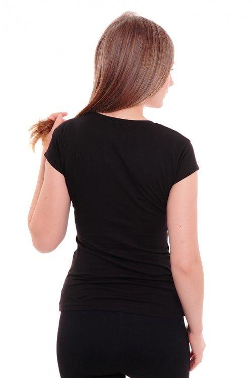 Футболка А4082 Размеры: 42,44,46 Цвет: черный Цена: 420 руб.  http://optom24.ru/futbolka-a4082/  #одежда #женщинам #футболки #оптом24