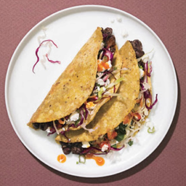 Crunchy Black Bean Tacos with Cabbage Slaw and Feta Cheese Yield ...
