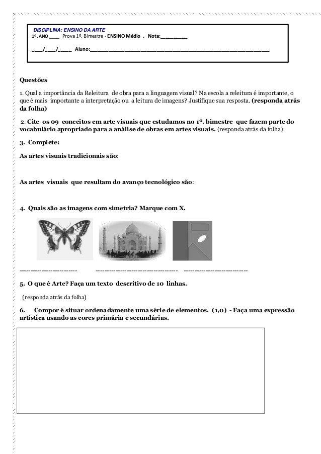 Avaliacoes Artes Primeiro Bimestre Atividades De Arte