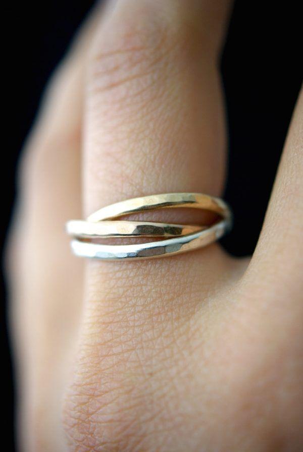 0f378b6347ad9 Interlocking Rings, Sterling Silver, Solid 14K Gold, Solid 14K Rose ...