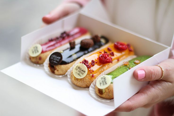 l'Eclair de genie | 14 Rue Pavée, 75004 Paris  approx  $8/each for a small eclair but referred to as one of the best treats in Paris (l'As du falafel is next door and recommended by visitors as well)