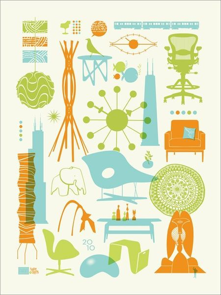 John Solimine limited-edition silkscreened DWR Chicago poster.