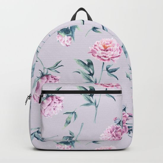 Delicate watercolor peonies seamless pattern on a pink background Backpacks $69.00