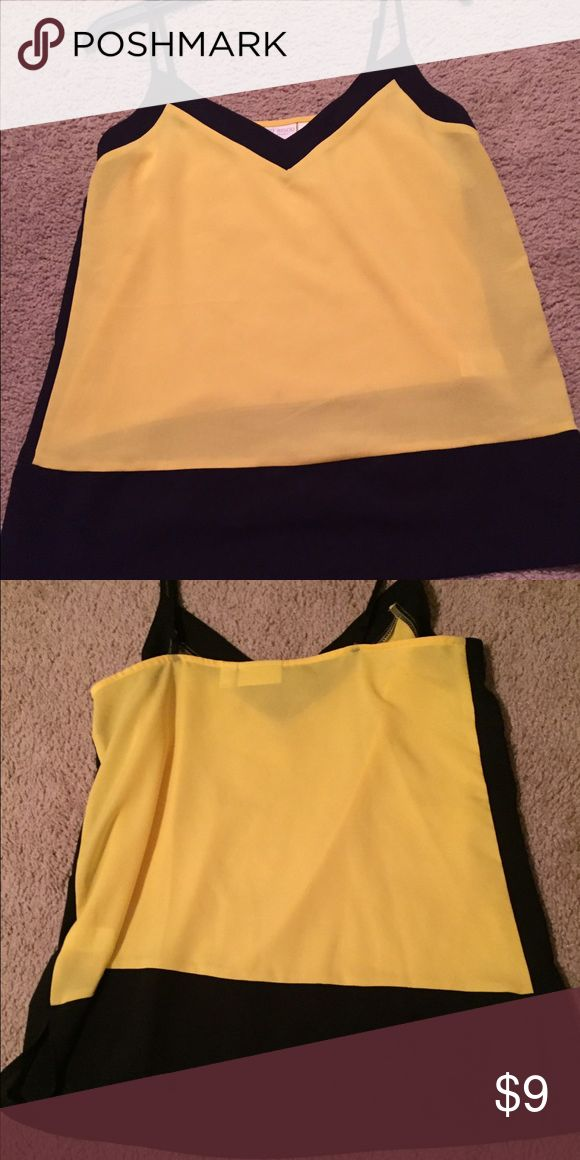 Formal Spaghetti strap shirt Black and yellow spaghetti strap shirt . For more formal occasions :) adjustable straps .never worn was too big . No tag Bisou Bisou Tops Blouses