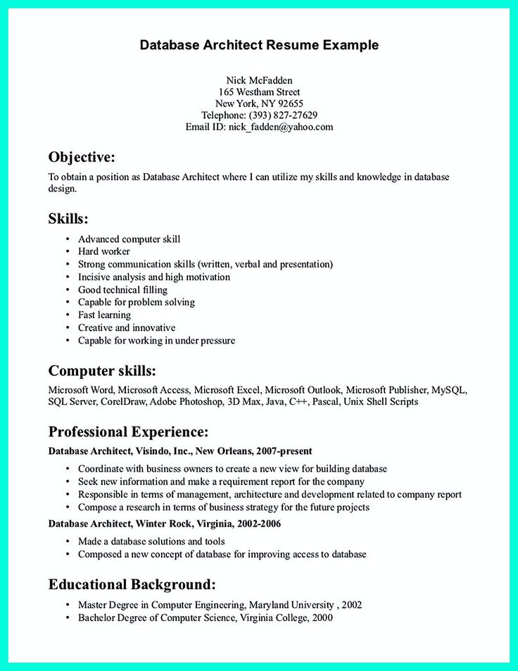 Enterprise Data Architect Sample Resume Excellent Database Architect Resume  Template Plus Skills And .
