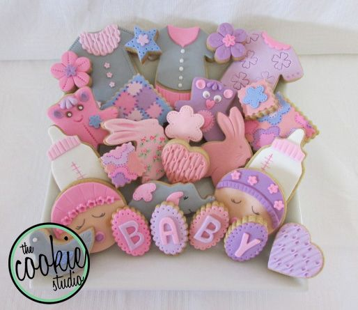Cute baby shower cookies for a baby girl. www.facebook.com/thecookiestudioza