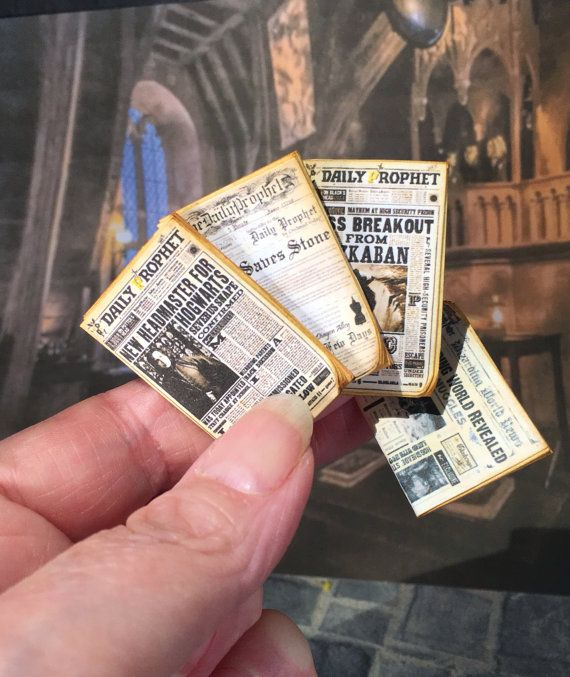 Four Newspapers Dollhouse Miniature 1/12 scale, set of four, 1 inch scale, Harry Potter, Hogwarts News, Perfectly aged, Tiny Detail