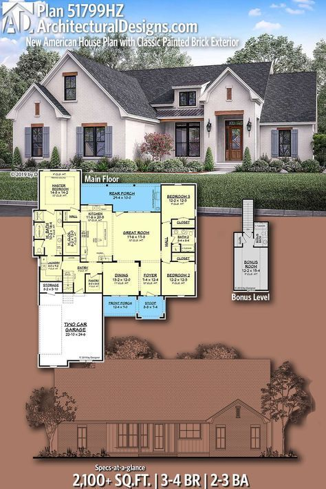 Plan 51799HZ: New American House Plan with Classic Painted Brick Exterior