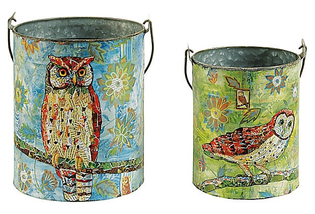 One Kings Lane - Cheerful Accents - Round Tin Buckets w/ Owl, Asst. of 2