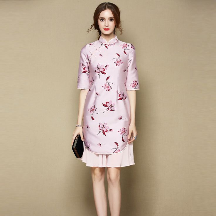 Attractive Two Layers Qipao Cheongsam Skirt Dress - Pink - Qipao Cheongsam & Dresses - Women