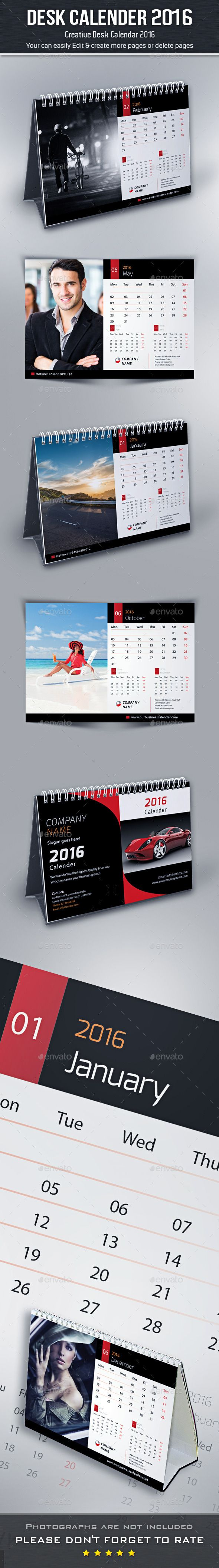 Desk Calendar 2016 Template #design Download…