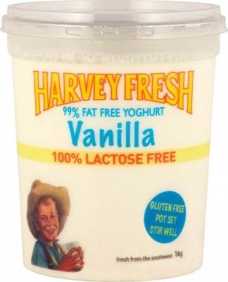 Harvey Fresh Lactose Free, Gluten Free 99% Fat Free Yoghurt, Vanilla 1kg  www.harveyfresh.com.au