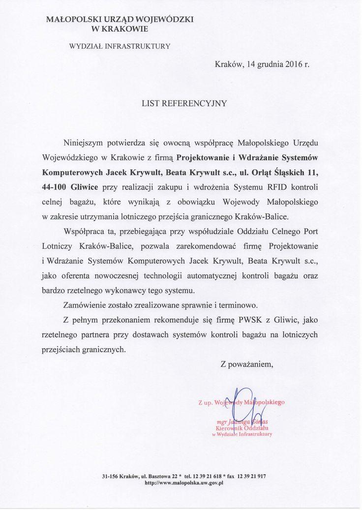 Zakończyliśmy wdrożenie systemu do identyfikacji bagaży RFID  na lotnisku w Balicach.  W zamian otrzymaliśmy miły list referencyjny :)