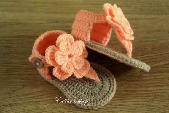 Crochet baby sandals gladiator sandals booties by editaedituke. These are too cute for words!