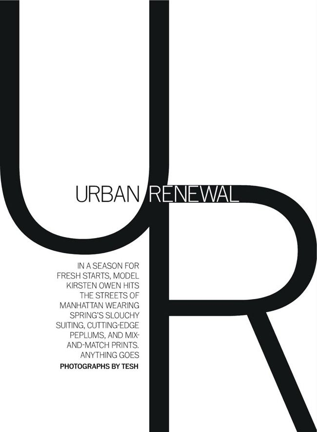 Kirsten Owen in Urban Renewal by Tesh. Alison Edmond, March 2013,