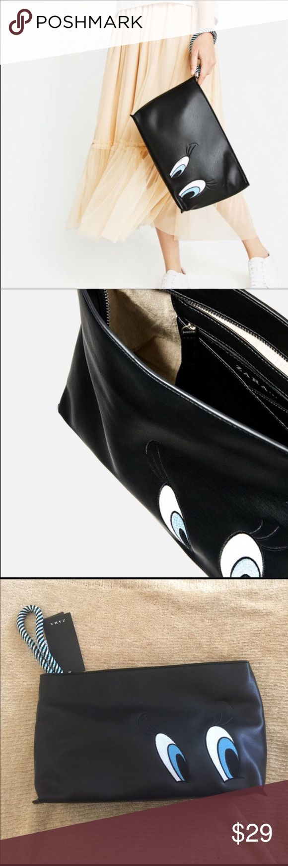 NWT ZARA BLACK TWEETY CLUTCH Brand new with tags! New, never worn. Sold out online! Zara Bags Clutches & Wristlets