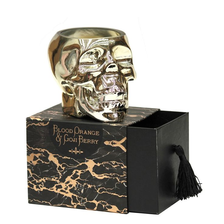 Gold Skull Candle by white tree floral design