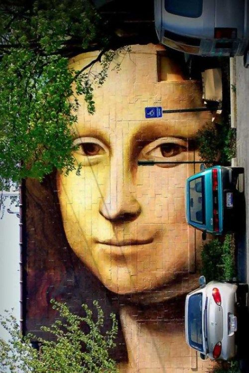 veryprivateart:Mona Lisa Mural by Brian Clemons1990, 742-754 N. Pearl Street, Columbus, OhioRestored in 2001 by Brian Clemons, and in 2005 by Curtis Goldstein