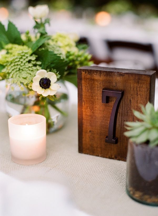 Wooden table numbers - easy to create, block of stained wood and a metal house number