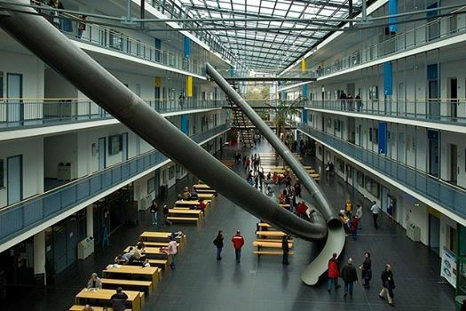 Giant indoor slide at the Technische Universitat Munchen.  This is how you stay young!