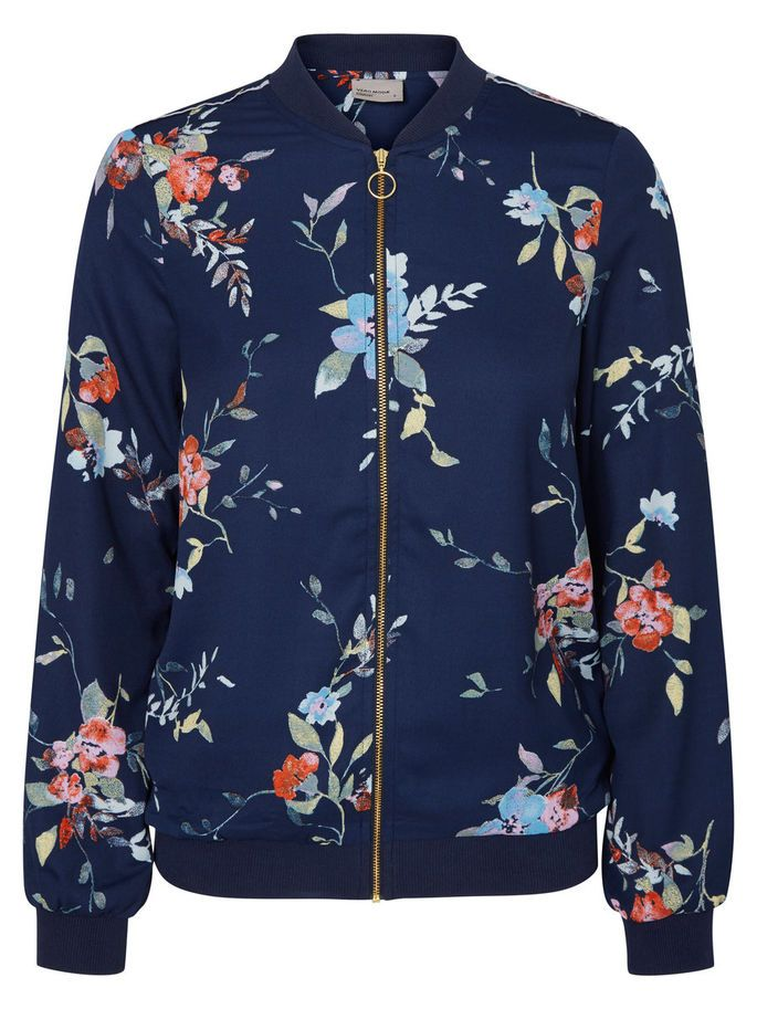 Blue bomber with florals from VERO MODA. Style with a pleated skirt and wear over a sweater.