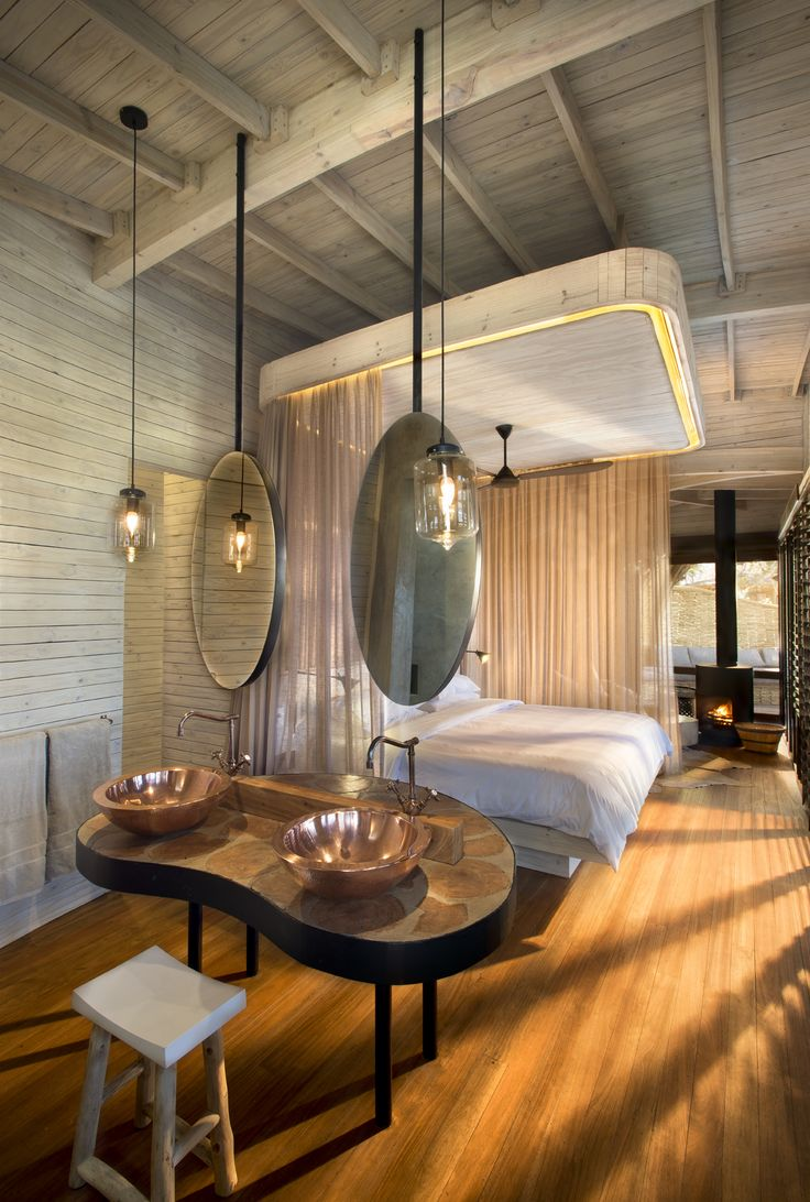 Our Sandibe Guest room Interiors - Copper, blackened steel and timber