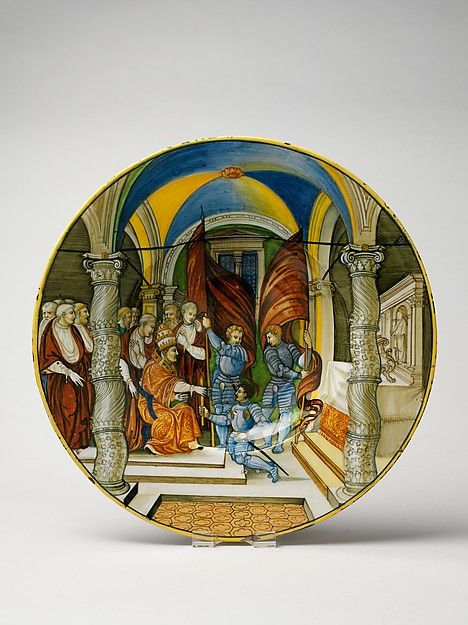 Large Dish (tagliere): Pope Leo X presenting a baton to Federigo II Gonzaga, Duke of Mantua, on his appointment as captain general of the Church in 1521.  Son of Isabella d'Este.