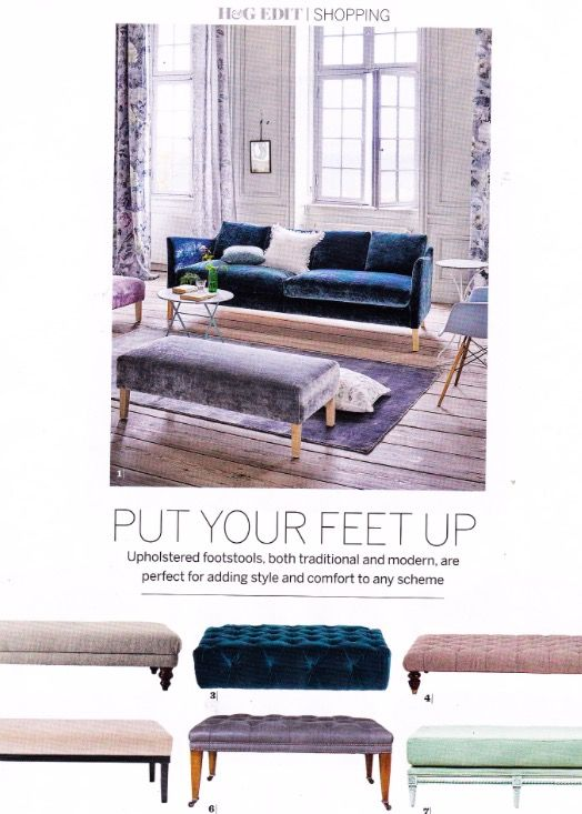 Beaumont & Fletcher's Brummell footstool featuring in the March issue of Homes & Gardens magazine 2017