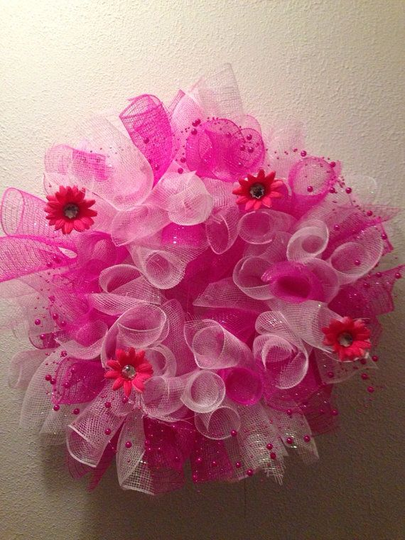 Baby girl wreath pink wreath girls bedroom by FunWithWreaths, $22.00