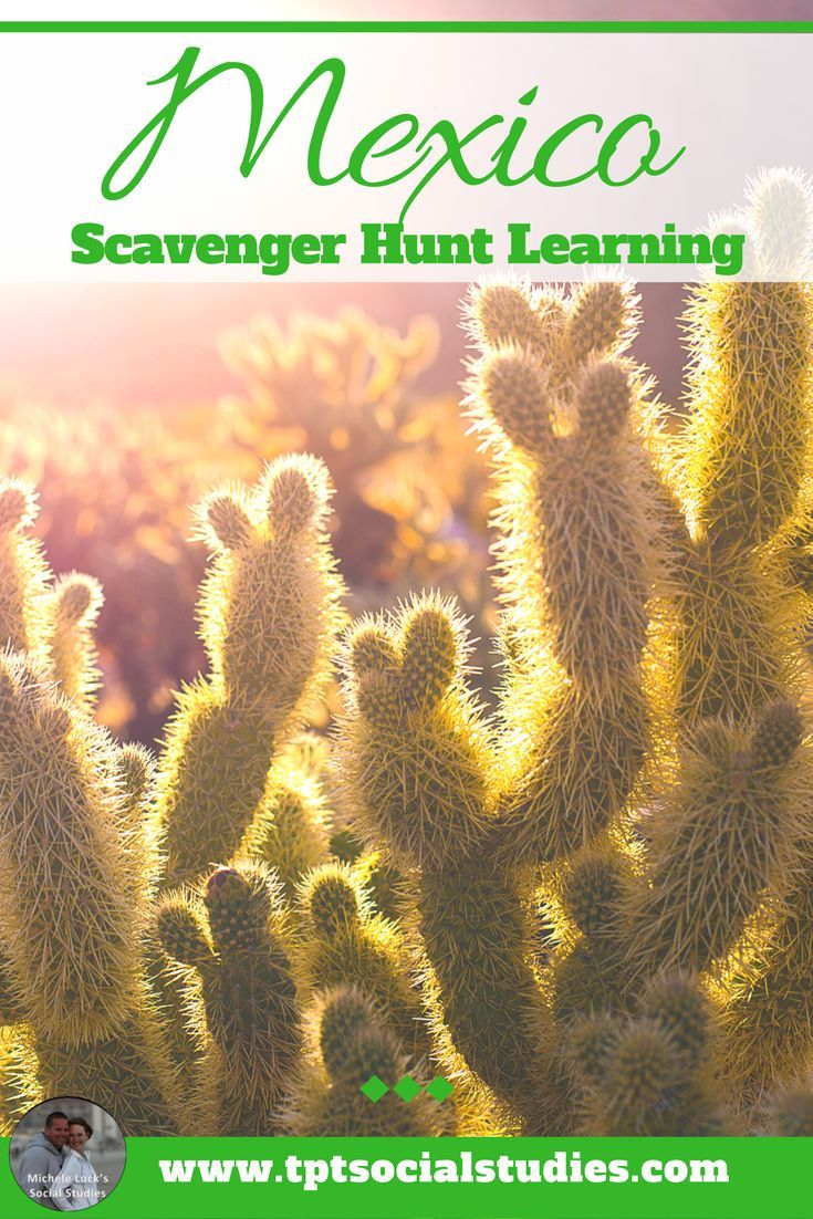 Let your students experience Mexico with this fun and engaging scavenger hunt. Students learn all about the country by reading and quizzing themselves on the geography, history, current events, economics, laws, and trends in the country. Click to read more detail on how you could implement this to create a more interactive classroom. #teaching #middleschool #geography #mexico