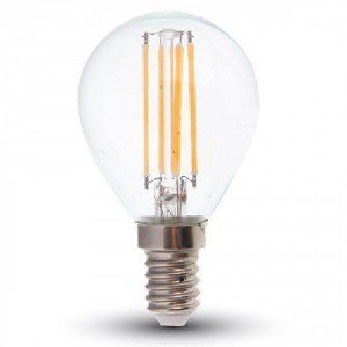 LED lámpa , égő , izzószálas hatás , körte , E14 foglalat , 4 Watt , 300° , meleg fehér