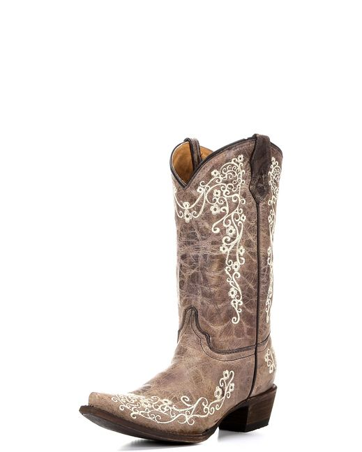Youth Brown/ Bone Embroidery Boot - A2773 to match mommy on wedding day!!!!