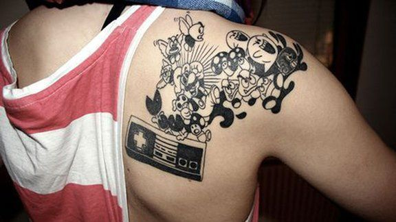 Cool black filling Super Mario Tattoo