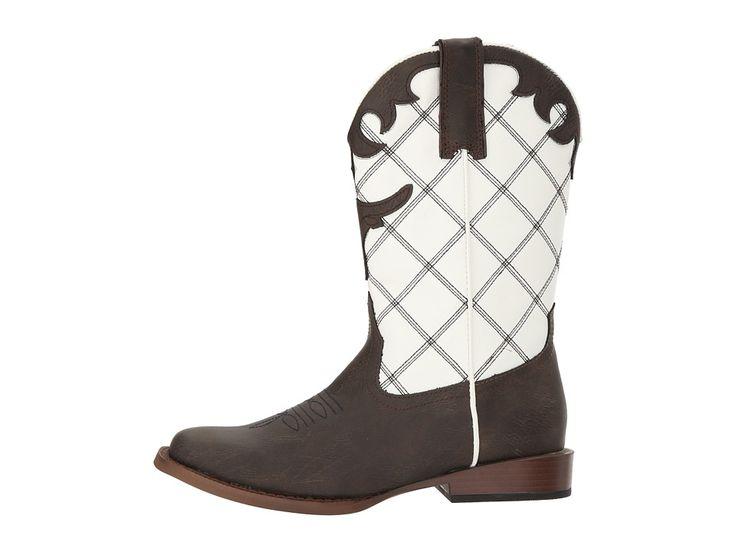 Roper Kids Steerhead (Big Kid) Cowboy Boots Brown Faux Leather Vamp White Shaft