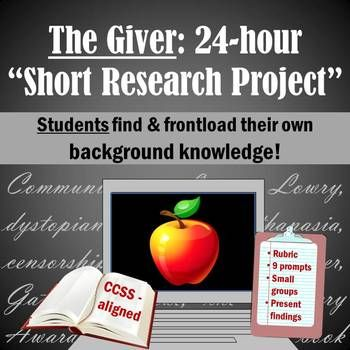 Have STUDENTS generate their own background knowledge for the novel with this SHORT research project! Start the unit with no teacher prep, or enrich the themes while you're already reading!