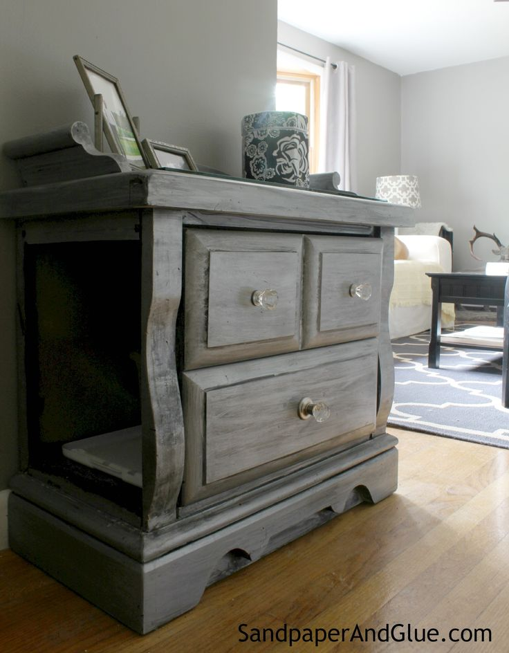 Secret Litter Box In An Old End Table