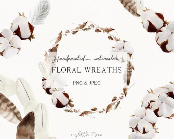 Winter wreath clip art autumn wedding clipart rustic boho wreath floral fall frame watercolor digita