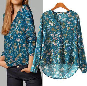 Woman Shirt Summer Long Sleeve Printed Plus Size European Vintage Blusas Femininas