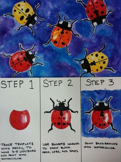 Watercolor Ladybugs