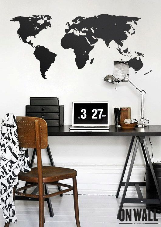 Large Vinyl wall World map decal - Removable Detailed World map mural wall sticker - WM002 on Etsy, $45.00