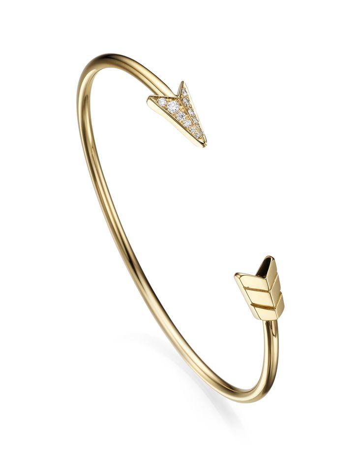 The FLOW collection ~ An 18k arrow stiff bracelet with diamonds by Padani