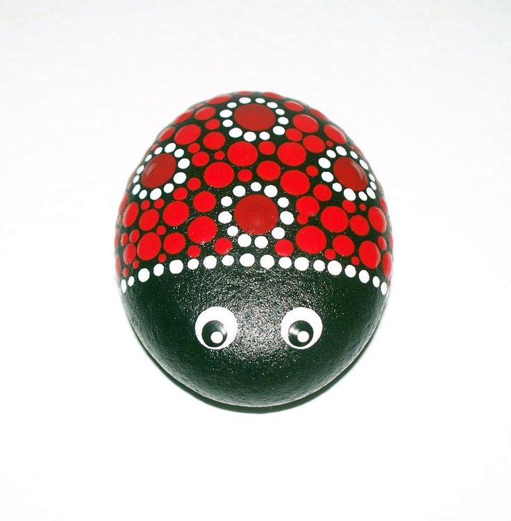 Ladybird, ladybug, hand painted pebble, stone, dot painting, red, pebble art, comes with organza gift bag, 6 x 5cm by CornishMaidPebbles on Etsy