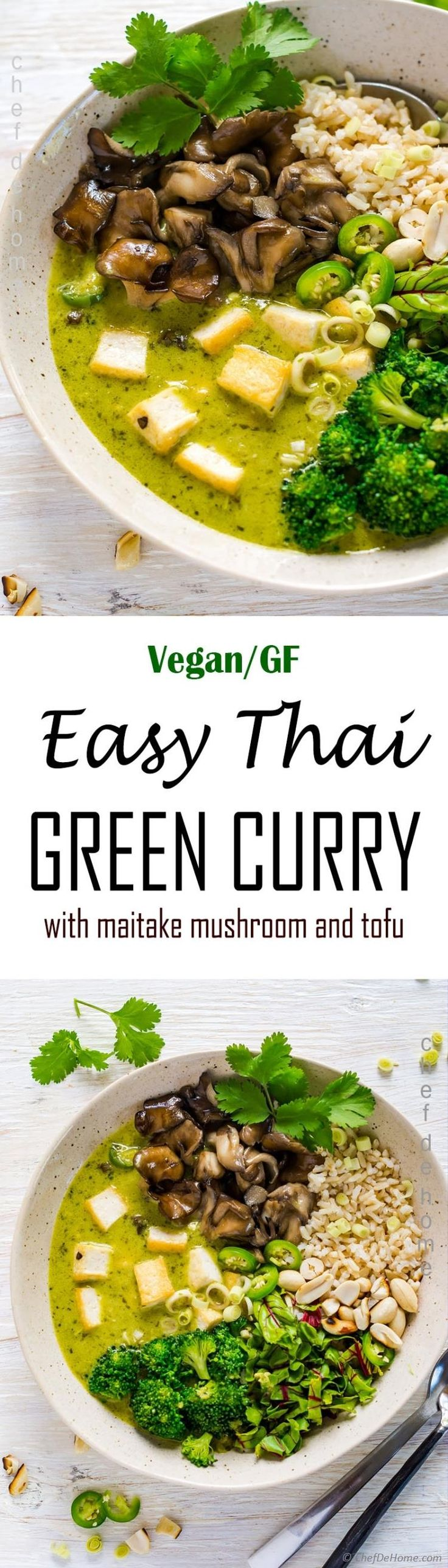 Recipe for Easy Homemade Thai Green Curry! Vegan, gluten free, and healthy curry with homemade Thai green curry paste, maitake mushrooms, broccoli and crispy tofu.