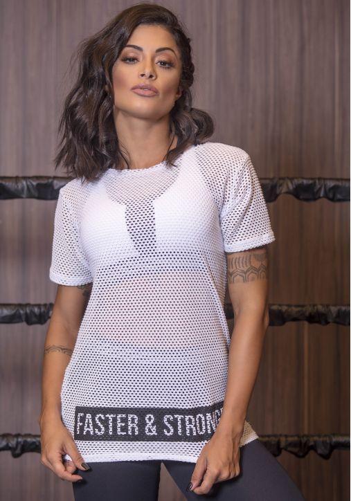 Blusa Branca Tela Faster and Strong - Moda Fitness  Linha completa com  preço de fábrica 5d843bd68a8