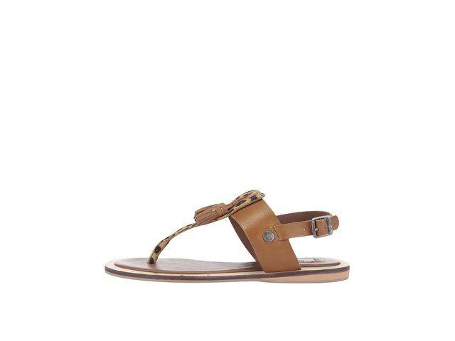Hnědé dámské kožené sandálky se vzorem Pepe Jeans -